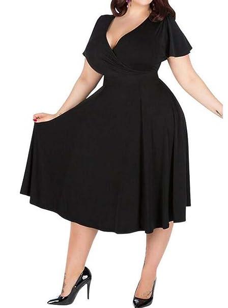 HEFEI Vestido de Gran tamaño de la Falda de Las Mujeres ...