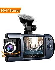 ABOX Cámara de Coche con 180° Rotatorio Lente, TrekPow HD 1080p T1 Coche DVR, Dash CAM con Sony Sensor, 170° Gran Ángulo,Grabación en Bucle, Visión Nocturna