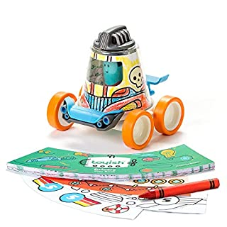 Toyish Award Winning Interactive Coloring Book and Race Car with Racer Toy - STEAM, Creativity and Learning Development DIY Kit for Preschool Kids Age 4-8