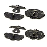 uxcell Suitcase Jewelry Vintage Style Zinc Alloy Box Latch Hasp Lock Bronze Tone 4 PCS
