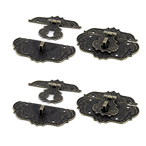 uxcell Suitcase Jewelry Vintage Style Zinc Alloy Box Latch Hasp Lock Bronze Tone 4 PCS (Lock Tone)