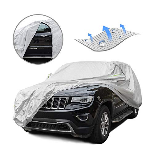 Tecoom Breathable Material Door Shape Zipper Design Waterproof UV-Proof Windproof Car Cover with Storage and Lock for All Weather Indoor Outdoor Fit 196-210 inches SUV (Best Car Cover For Indoor Storage)