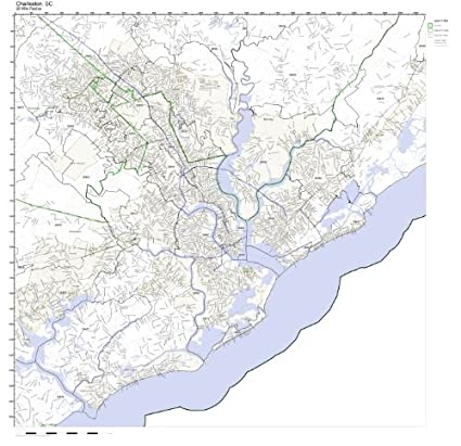 Amazon.com: Charleston, SC ZIP Code Map Laminated: Home & Kitchen