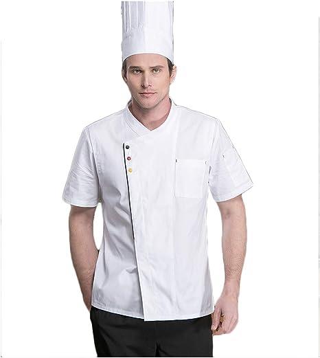 WYCDA Camisa de Cocinero Cocina Uniforme Manga Corta Blanco Negro Azul Disfraz de Chef Absorción de Humedad Protección del Medio Ambiente Unisex,Whiteshortsleeves,L: Amazon.es: Hogar