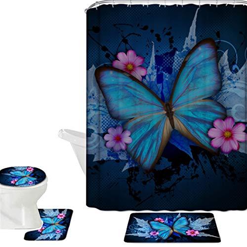 (HUGS IDEA Blue Butterfly 16 Piece Bathroom Mat Set Shower Curtain Sets Non Slip Soft Bath Mat + Contour Mat + Toilet Cover + Shower Curtain + 12)