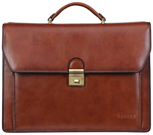 Banuce Vintage Genuine Leather Briefcase for Men Lock Lawyer Attache Case Laptop Messenger - Leather Cotton Briefcase