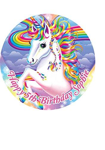 """7.5/"""" Unicorn Birthday Celebration Personalised Cake Topper"""