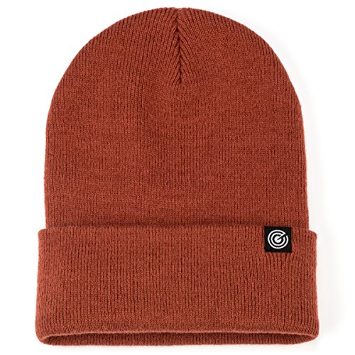 Cuffed Beanie for Men & Women - Soft, Warm Knit - 10 Colors (Rust)