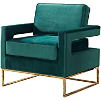 Meridian Furniture 511Green Noah Velvet Upholstered Armchair with Square Arms and Gold Stainless Steel Base, 33.5L x 29.5D x 35.5H, Green