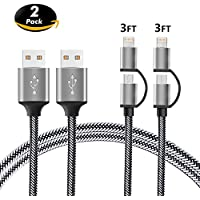 2-in-1 Lightning and Micro USB Cable [2 Pack 3FT] BINGCOO Nylon Braided Charging/Sync Data for iPhone X, 8, 8 Plus, 7/ 7 Plus/6/6s/6 plus/6s plus/ 5c/5s,iPod, iPad ,Samsung Galaxy and Android