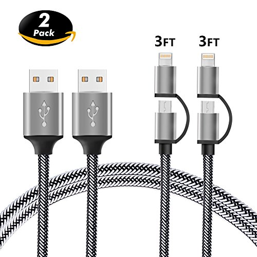 Price comparison product image 2-in-1 Lightning and Micro USB Cable [2 Pack 3FT] BINGCOO Nylon Braided Charging/Sync Data for iPhone X, 8, 8 Plus, 7/ 7 Plus/6/6s/6 plus/6s plus/ 5c/5s,iPod, iPad ,Samsung Galaxy and Android