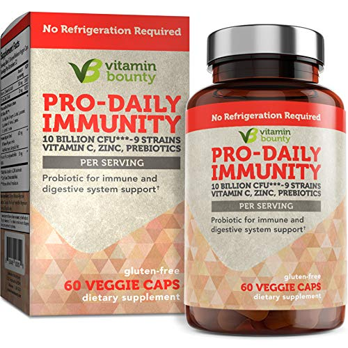 Immune Support Probiotics with Vitamin C & Zinc + Prebiotics – 10 Strains to Help Immune Boost defenses Naturally