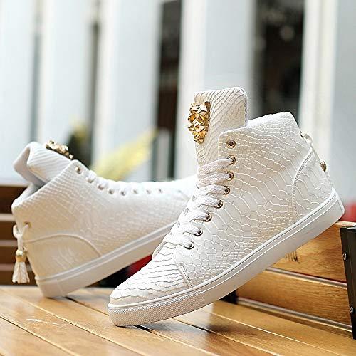 ZHZNVX Zapatos de Mujer de Cuero/Microfibra Primavera/Otoño Comfort Sneakers Flat Heel Round Toe Lace-up Blanco/Negro White