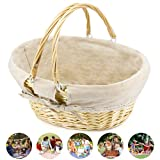 Durior Wicker Basket Woven Picnic Basket Empty Oval Willow Large Storage Basket with Double Handles Fruit Serving Baskets Easter Basket 15.5'' L 11.5'' W 7'' H(Natural)