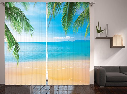 Beach Themed Decor Curtains By Ambesonne, Exotic Lagoon Sand Sea Ocean Paradise Picture, Window Drapes 2 Panel Set For Living Room Bedroom, 108W X 84L Inches