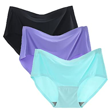 6b0a70c346 Warm Sun Womens Seamless Ice Silk Sexy Soild Color Plus Size Full Coverage Panties  Pack of