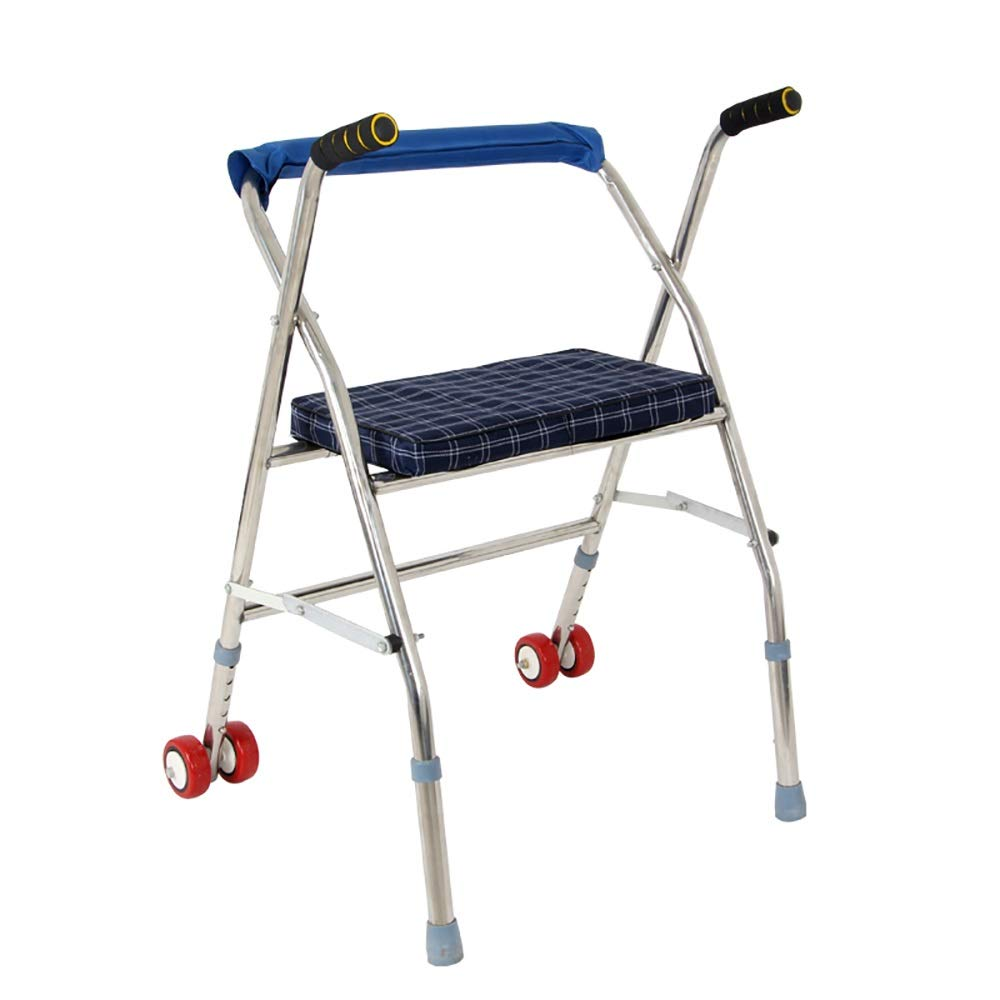 Foldable, Height-Adjustable, with Wheels, with Cushions, Stainless Steel Portable Elderly Walker.