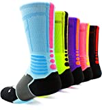 Basketball Socks Mens&Womens Pack Of 5 Compression Cotton Sport Crew Sox-Great for running,riding,hiking,work,skiing,hunting.