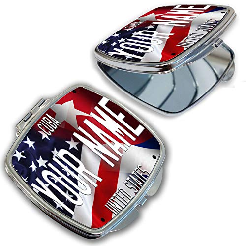 BRGiftShop Customize Your Own Mixed USA and Cuba Flag Compact Pocket Cosmetic Mirror ()
