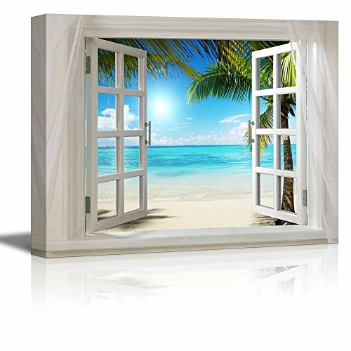 Print Beautiful Tropical Beach with White Sand Clear Sea and Palm Trees Gallery Stretched