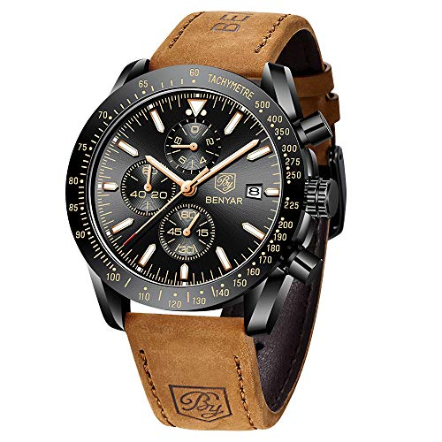 BENYAR – Stylish Wrist Watch for Men, Genuine Leather Strap Watches, Perfect Quartz Movement, Waterproof and Scratch…