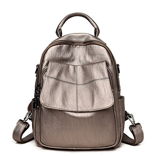 Backpacks Fashion Women Pocket Leather Backpack School Bags For Teenagers Girl champagne (Backpack Sierra Leather)