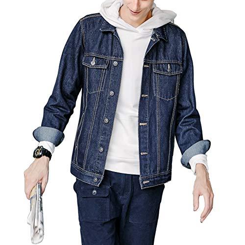 (SHAREWIN Denim Jacket Men Trucker Jean Jackets for Men, Blue)