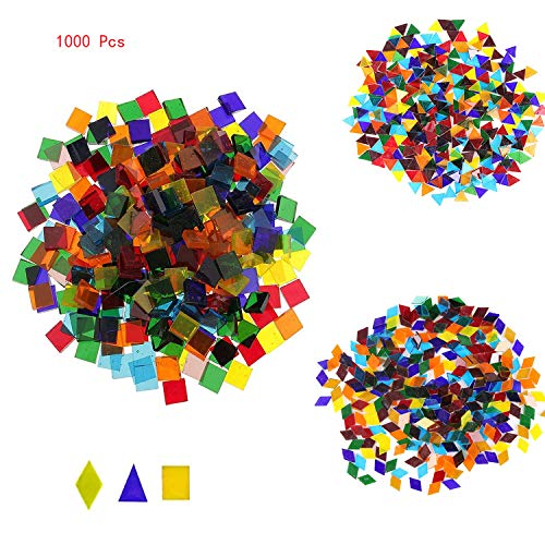 Mosaic Tiles Mixed Color Mosaic Glass Pieces for Home Decoration or DIY Crafts 1000 Pieces Mixed Shape ()