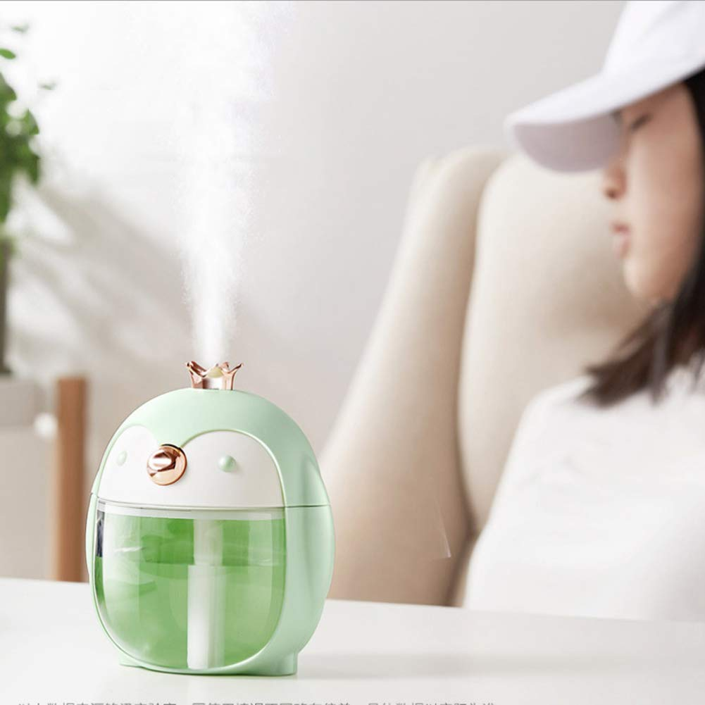 Penguin Green, 300ml Unigds USB Mini Humidifier Ultrasonic Cool Humidifier Mini Size Office Desk Humidifier for Bedroom Home Office Car Shut-Off and Colors Lights