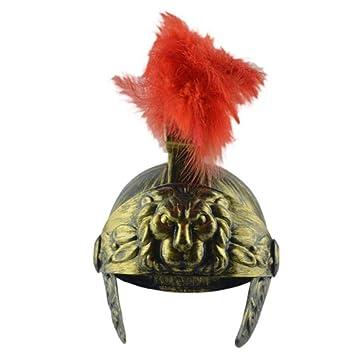 Casco de disfraz romano con pluma roja de plumón troiano, casco ...