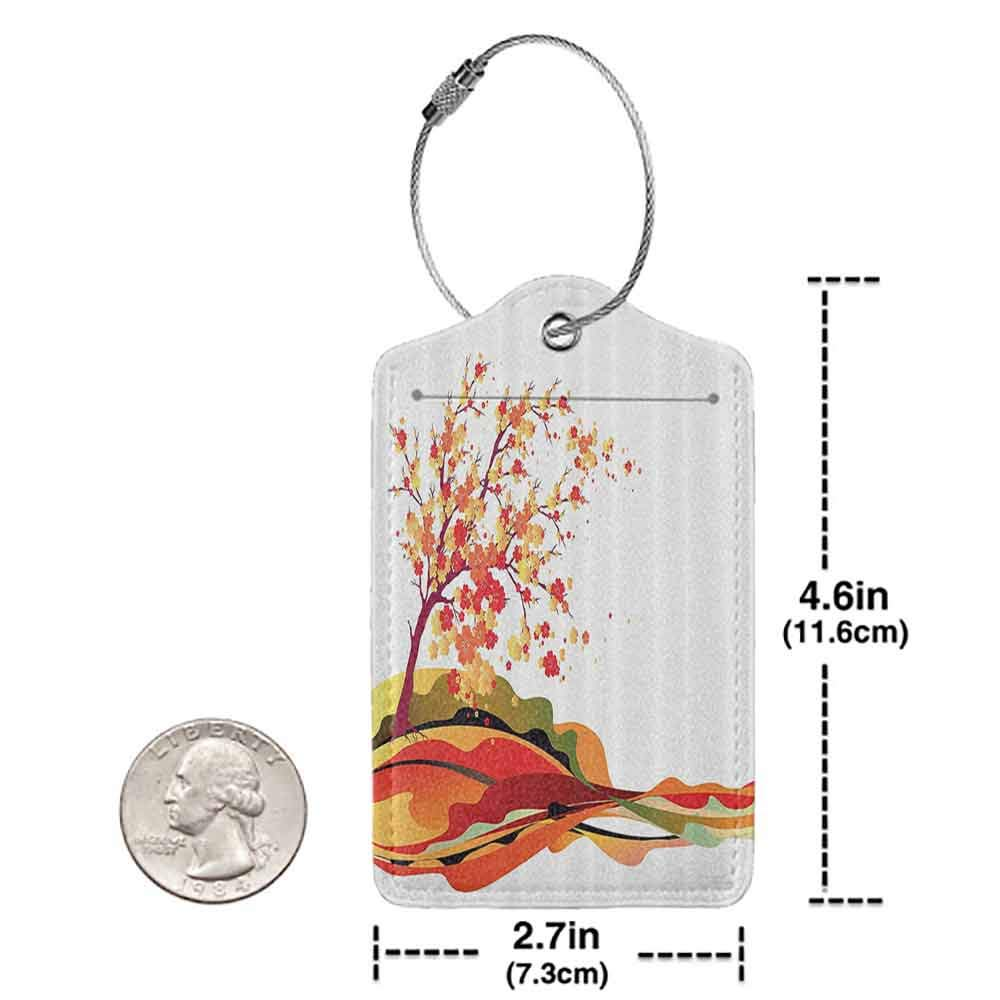 Modern luggage tag Abstract Home Decor Collection Autumn Tree Leaves Cherry Sakura Branch Holiday Travel Destinations Image Suitable for children and adults Paprika Green Black W2.7 x L4.6