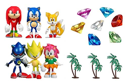 Classic Sonic and Friends 15 Piece Figure Play Set Featuring Sonic Figures, Themed Palm Trees and Sonic Themed Gems ()