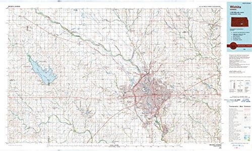 (YellowMaps Wichita KS topo map, 1:100000 Scale, 30 X 60 Minute, Historical, 1990, Updated 1990, 24.54 x 41.04 in - Paper)