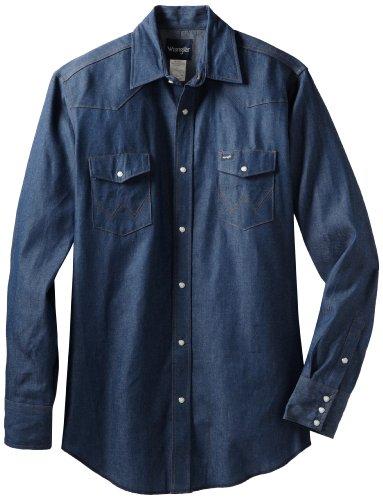 Wrangler Men's Authentic Cowboy Cut Work Western Long-Sleeve Firm Finish Shirt, Indigo Denim, 20/34 (34 Finishes)