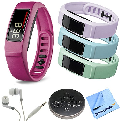 Garmin Vivofit 2 Bluetooth Fitness Band (Pink)(010-01503-03) Mint/Cloud/Lilac Bundle includes vivofit 2 with Large and Small Band, Mint/Cloud/Lilac Small Bands, Headphones, Watch Batter and Microfiber Cloth (Lilac Bundles)