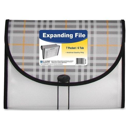 Wholesale CASE of 25 - C-Line 7-pocket Expanding Files-Expanding File, 7-Pocket, Ltr, 8-1/2''x11'', Plaid