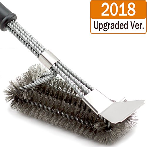 [2018 Upgraded]BBQ Grill Brush and Scraper, 18 Inches 3 in 1 Barbecue Cleaning Brush with Stainless Woven Steel Wire Bristles & Soft Comfortable Handle - Safe for Porcelain, Ceramic, Steel, Iron
