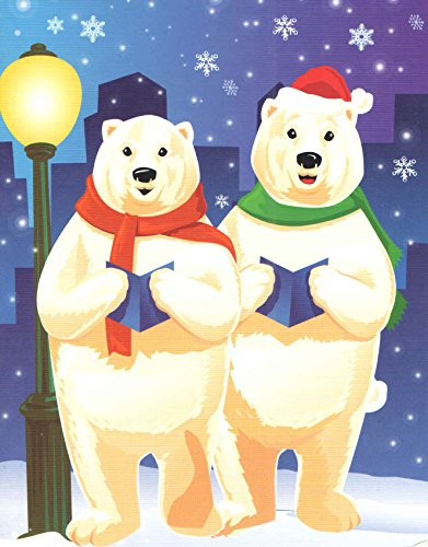 Traditional Christmas Cards ~ Set of 16 Cards and Envelopes (Caroling Bears - Happy Holidays) ()