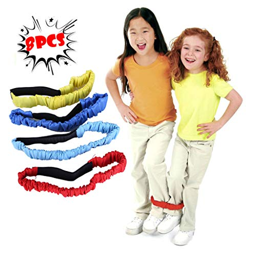 Fine 8 PCS 3-Legged Race Bands Elastic Tie Rope Strap Band with 4 Assorted Colors Perfect for Relay Race Game, Carnival, Field Day (Red)