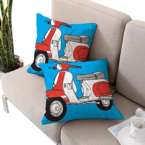 Soho Futon Cover - Michaeal Funky Decor Square futon Cushion Cover,Cute Scooter Motorcycle Retro Vintage Vespa Soho Wheels Rome Graphic Print Blue Red White W20 xL20 2pcs Cushion Cases Pillowcases for Sofa Bedroom Car