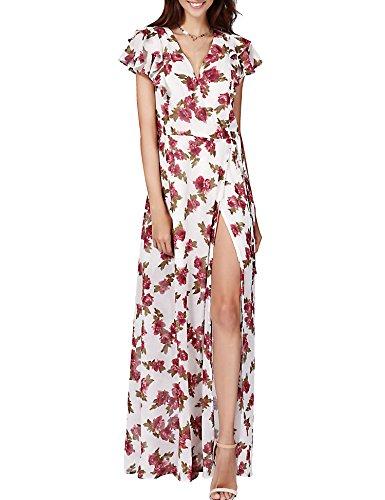 Azalosie Chiffon Maxi Dress Floral Wrap V Neck Empire Tie Waist Flowy Slit Women Boho ()