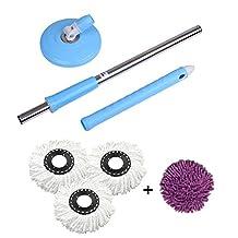 360° Rotating Spin Magic Mop Replacement Mop Stick+4 Mop head The Spinning Action Mop (Blue mop)