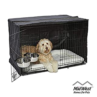 iCrate Dog Crate Starter Kit | 48-Inch Dog Crate Kit Ideal for XL DOG BREEDS Weighing 90 - 110 Pounds | Includes Dog Crate, Pet Bed, 2 Dog Bowls & Dog Crate Cover | 1-YEAR MIDWEST QUALITY GUARANTEE