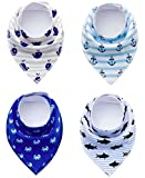 Paws n' Play Limited Edition [4 Piece] Fun Bright Color Snap-On Pet Dog Bandana Triangle Scarf Bibs - Accessories for Dogs, Puppy, Cats - Small/Medium, Soft Cotton Bandanas (Ocean Myst)