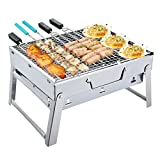 Nclon Folding Portable Charcoal smoker Barbecue grill Charcoal grill,Stainless steel Smoker Bbq Lightweight Portable grill Outdoor Garden Camping 3-5 People-Trumpet - Stainless Steel 352720cm