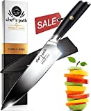 Best Kitchen Knife 8 Inch - Professional Chef Knife - Ultra Sharp Chefs Knife - German High Carbon Stainless Steel - Great Value with Sheath, Exquisite Gift Packaging & Booklet - CHEF'S PATH