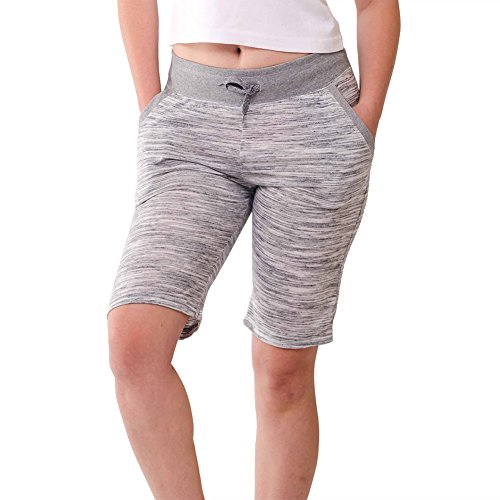 Stylish Casual Womens Bermuda Shorts-Soft Stretch, Elastic Waist, Sleep Shorts, White Melange, Large (Lady Bermuda)
