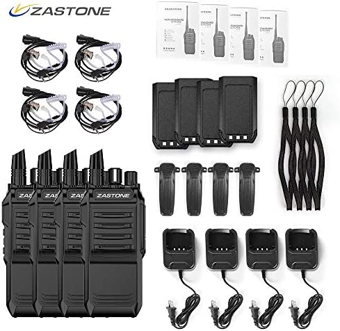 Zastone T3000 Walkie Talkies Long Range Rechargeable 6W 400-520Mhz 2200Mah Two Way Radio with Earpiece 2 Pack