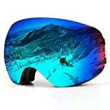 Ski Goggles, Over Glasses Snowboard Goggles for Men, Women, Youth or Kids - UV400 Protection and Anti-Fog - Double Grey Spherical Lens Comfortable for Skating Skiing Snowmobiles (Black-Adult-VLT 6.2%)