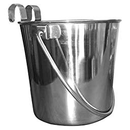 QT Dog Flat Sided Stainless Steel Bucket with Hooks, 1 quart